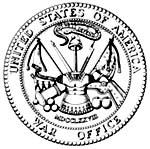 Black and white image of War Department seal prior to 1947. Later a color version was used for the Department of the Army.