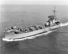USS Pee Dee River (LSM(R)-517), of the LSM(R)-501 class, underway in 1954