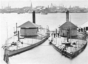 USS Shawnee and the USS Wassuc laid up at the Boston Navy Yard, circa 1871-72
