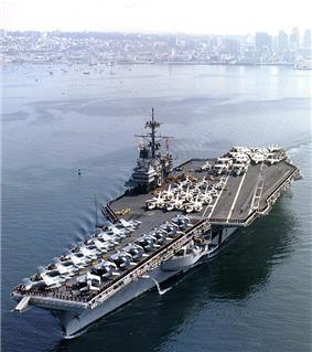 USS Ranger (CV-61) departing from San Diego, 1987