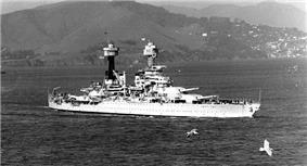 USS West Virginia (BB-48) in San Francisco Bay, c. 1934.