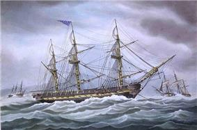 A painting depicting a ship at anchor during rough seas. One side of the ship is prominent in the foreground with the bow and anchor chain to the right of the frame. There are no sails set and only the masts and rigging are shown. Two other ships are shown to the right and left in the far background.