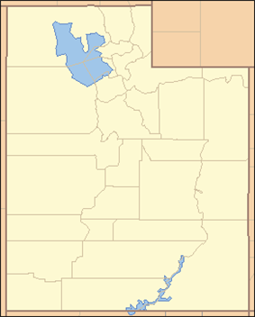Map of Utah divided into its 29 counties, each labeled with two letters. The most northwestern county is labeled