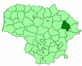Location of Utena district municipality within Lithuania