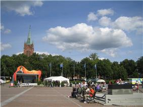 Market place with the New Church in the background