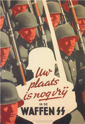 a colour poster depicting ranks of soldiers in SS uniform marching