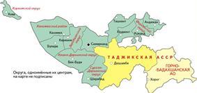 Location of Tajik ASSR