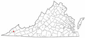 Location of Coeburn, Virginia