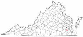 Location of Dendron, Virginia