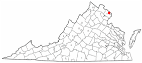 State map highlighting City of Falls Church