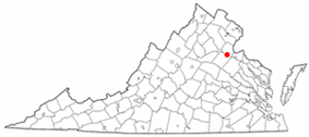 State map highlighting City of Fredericksburg