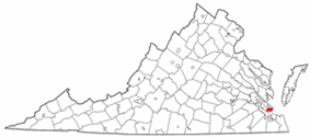State map highlighting City of Hampton