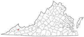 Location of Honaker, Virginia
