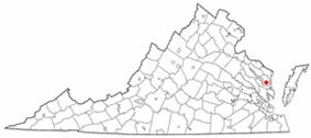 Location of Irvington, Virginia