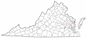 Location of Kilmarnock, Virginia