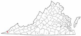 Location of Pennington Gap, Virginia