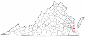 State map highlighting City of Poquoson
