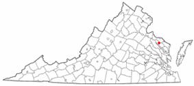 Location of Warsaw, Virginia