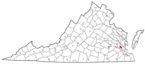 State map highlighting City of Williamsburg