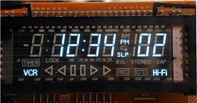 Vacuum fluorescent display used in a videocassette recorder.