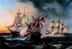 Three ships, the middle one badly damaged and flying a French flag, exchanged cannon fire in heavy seas