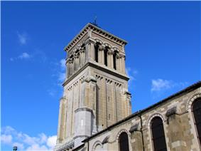 The bell tower of the Saint-Apollinaire Cathedral