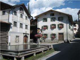 Valendas town center and fountain