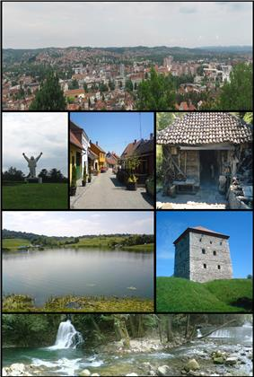 Valjevo Panoramic view, Stjepan Filipović monument, Tešnjar,Old Water mill, Petnica Lake, Nenadović Tower, River Gradac.