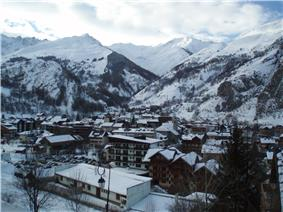 Image of valloire village and two of its mountains, le Setaz and Du Crey Du Quart.