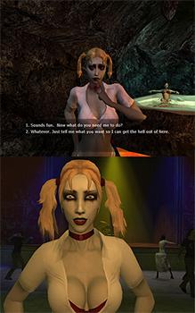 Double image of blonde, female vampire