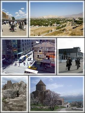 Top left: Van railroad station, Top right: View of Van from Van Castle, Middle left: downtown Van city, Middle right: Van Ferit Melen Airport, Bottom left: Van Fortress, Bottom right: Armenian Cathedral of the Holy Cross