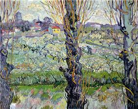View of Arles, flowering orchards