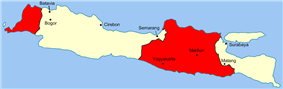 A map of Java; parts of the map are highlighted red.