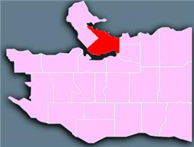 Location of Downtown Vancouver shown in red.