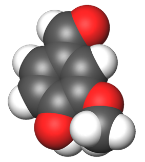 Spacefill model of a vanillin minor tautomer