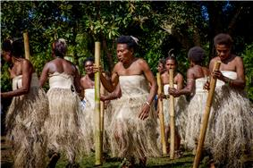 A women's dance from Vanuatu, using bamboo stamping tubes.