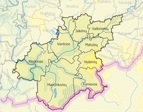 Map of Varėna district municipality