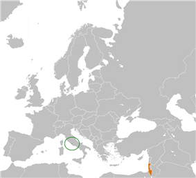 Map indicating locations of Vatican City and Israel