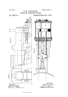 Image from the 1889 U.S.Patent issued to cover the Vauclain compound.