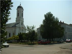 Town center of Veliko Gradiste and Orthodox church