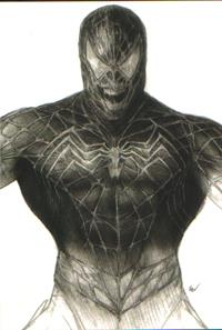Concept art for Venom's costume, which is a black-white version of Spider-Man's suit, but more muscular and with an open mouth with sharp teeth
