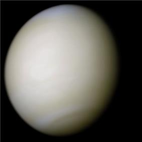 A real-colour image of Venus processed from two filters. The surface is obscured by a thick blanket of clouds