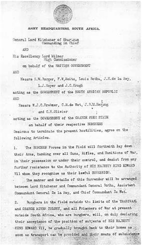 Page 1 of the Treaty of Vereeniging-->