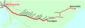Orbost line map