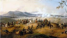Painting showing a group of officers watching a battle in the distance