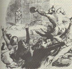 The audience fights during a performance