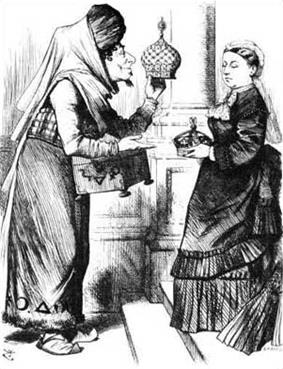 Disraeli dressed as a fakir offers Victoria an exchange