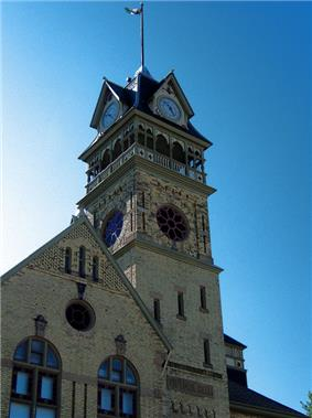 View of the clock tower of Petrolia Town Hall