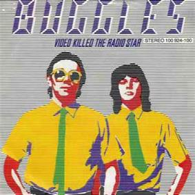 A cartoon version of Trevor Horn (left) and Geoff Downes (right), with the blue text