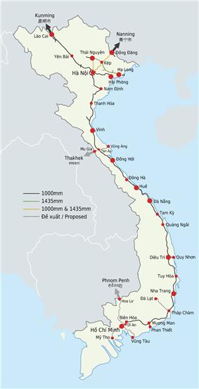 The Vietnamese railway network.